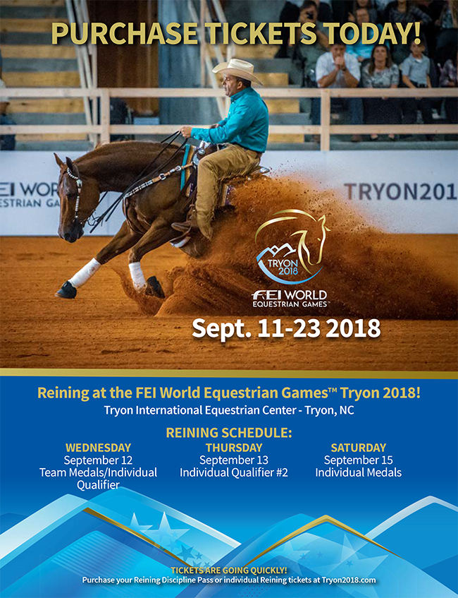 Purchase Your Reining Tickets For The Fei World Equestrian